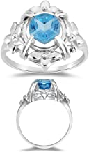 Studs Galore 1.50 Cts 7 mm AAA Texas Star Cut Swiss Blue Topaz Ring in 10K White Gold