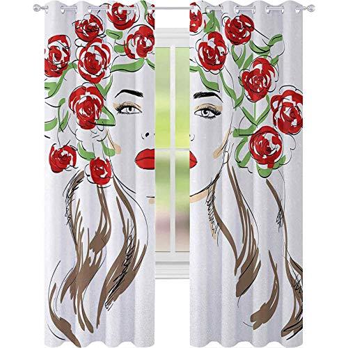 Verduisterende gordijnen slaapkamer, hand getrokken dame met rozen op haar haar bloemen ornamenten natuurlijke kunstwerken thema, 2 panelen W52 x L63 verduisterende gordijnen voor kinderkamer, rood groen bruin
