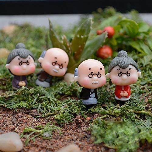 Livecitys bonsaï Décor, 4 pcs Miniature Vieux Granny Papi poupée Ornements Home Garden Crafts Décoration, Résine, Old Granny Grandpa