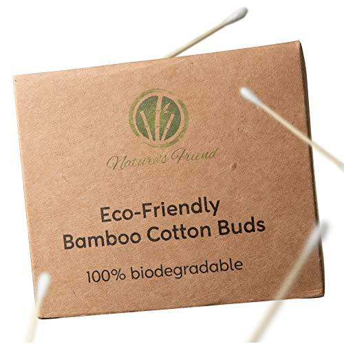Nature'sFriend Lot de 200 cotons-tiges en bambou de qualité supérieure 100 % biodégradables | Emballage écologique et durable sans plastique