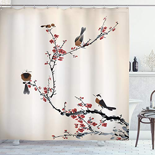 """Ambesonne Nature Shower Curtain, Birds on a Cherry Tree Branches Summertime Foliage in a Classic Oriental Style of an Illustration, Cloth Fabric Bathroom Decor Set with Hooks, 70"""" Long, Ruby Caramel"""