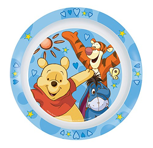 P : OS 68910 Assiette Plate Disney Winnie l'Ourson, Mélamine, Diamètre 22 cm (Assortie)