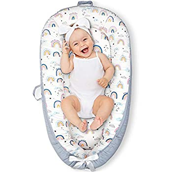 CosyNation Baby Lounger Baby Nest for Co Sleeping Ultra Soft and Breathable Cotton Portable & Lightweight for Traveling Perfect for Bassinet & Cribs Essential for Newborn Shower Gift  Rainbow