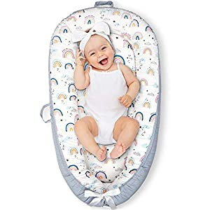 crib bedding and baby bedding cosy nation baby lounger baby nest, co sleeping bed for infant, ultra soft & breathable waterproof fiberfill, portable newborn lounger adjustable crib bassinet, baby shower gift (rainbow)
