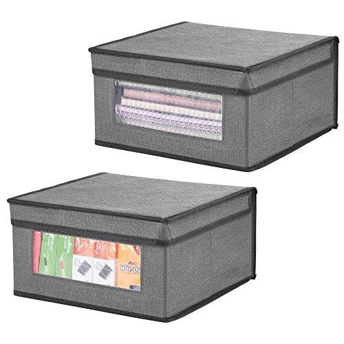 mDesign Juego de 2 Cajas organizadoras apilables – Gran Organizador de armarios con Ventana para despacho, Dormitorio o Sala de Estar – Caja con Tapa de Fibra sintética – Gris y Negro