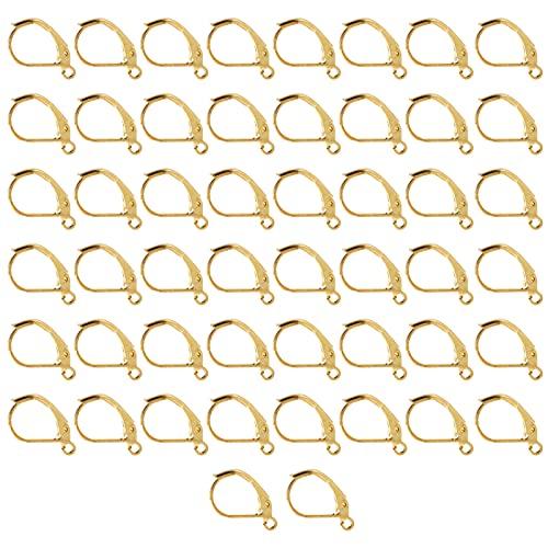 Leverback Earwires, Ganchos para pendientes No se desvanecen fácilmente Regalos ideales Ganchos para pendientes de bricolaje Latón elegante para hacer joyas para diseños de aretes(Imitación de oro)