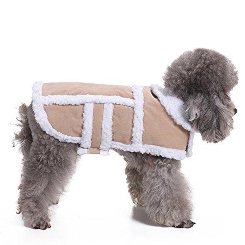 RYPET Small Dog Winter Coat - Shearling Fleece Dog Warm Coat for Small to Medium Breeds Dog Tan, Small