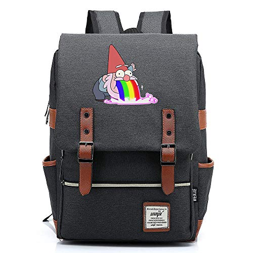 QAQB Fashion CasualCartoon Animation Town Log Young Student Schoolbag Men and Women Casual Belt Buckle Backpack -05_16 Inch