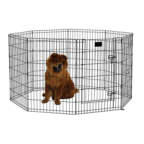 MidWest Foldable Metal Exercise Pen / Pet Playpen. Black w/ Door, 24 W x 36 H Inch