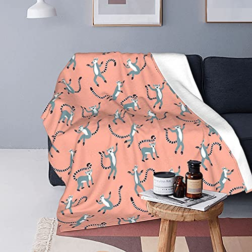 LINGF Flannel Twin Size Blanket Seamless Animals Funny Lemur Plush Warm Bed Blanket Soft Throw Blanket Fits Couch Sofa 60x50 Microfiber