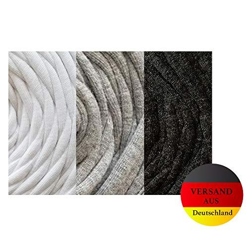Polarkind Jerseynudeln Tshirtgarn Set weiß grau schwarz Textilgarn statt Schrägband Gummiband Kochfest elastisch Community Behelfsmaske Herstellung 6m