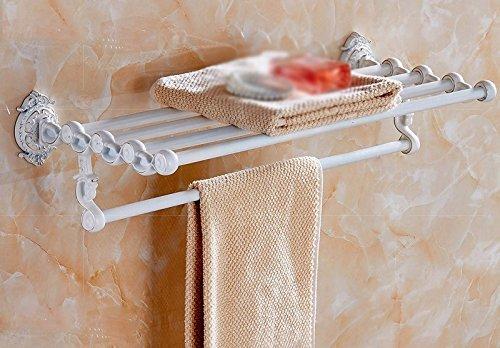 CXHMY Handtuchhalter Regal Bad Ständer Schnitzereien Kupferrohr Weiß