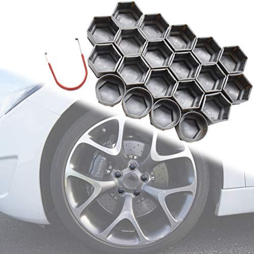 XUKEY 20-teilige graue Rad-Mittelmutter-Schraube Reifen-Schraubverschluss Staubwasserdichte Abdeckung mit Entfernungswerkzeug 22 mm Für Regal Vectra 2010-2017