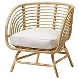 MSAMALL Sillón BUSKBO, ratán, blanco Djupvik, 42x72x63 cm duradero y fácil de cuidar. Sillones de ratán, sillones y chaise longues. Sofás y sillones. Muebles respetuosos con el medio ambiente.
