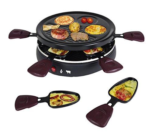 Team Kalorik Raclette y grill multifunción para 6 personas, Forma redonda, 6 palas incluidas, 800 W, Negro, TKG RAC 1008 CS