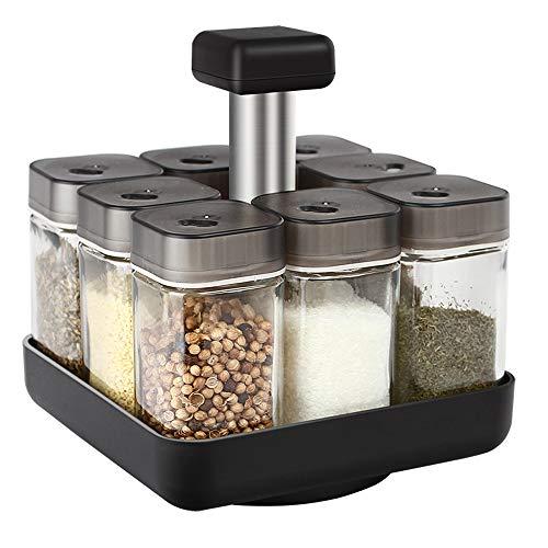 ZLDGYG Dispensador de condimentos Giratorio, Tarro de Especias de Pimienta, Juego de Botellas de Vidrio de 90 ml, Utensilios de Cocina sellados con Tapa
