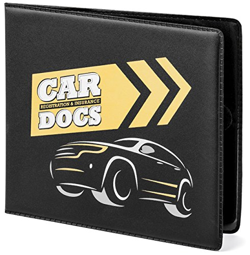 "CAR DOCS Car Document HOLDER CASE 5"" x 4.5"" standard size, for Insurance, DMV, Registration, AAA, Auto Club, for Car Truck SUV, Motorcycle, safely store important documents in glove box"