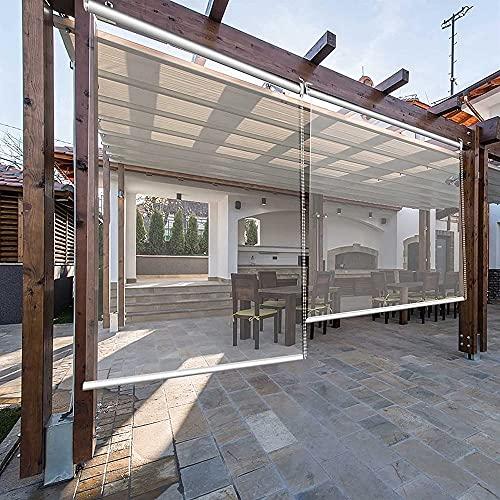 YUYI Pergola - Estor enrollable impermeable para exteriores (PVC, transparente, 115 cm, 125 cm, 135 cm, 145 cm)