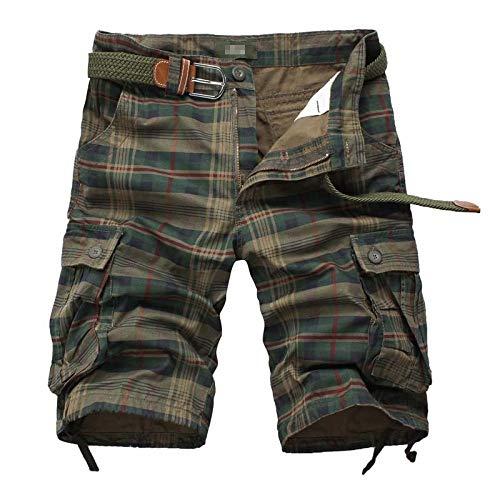 DONNU Pantalones Cortos para Hombres Pantalones Cortos De Playa A Cuadros Pantalones Cortos Militares Monos Masculinos Monos De Carga Pantalones Cortos Hombres Pantalones Cortos