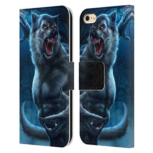 Head Case Designs Licenciado Oficialmente Tom Wood Hombre Lobo Horror Carcasa de Cuero Tipo Libro Compatible con Apple iPhone 6 / iPhone 6s