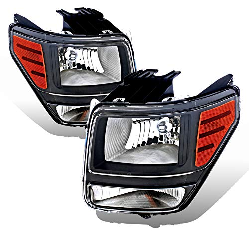 AmeriLite Black Replacement Headlights Set for 07-11 Dodge Nitro (Pair) High/Low Beam Bulb Included