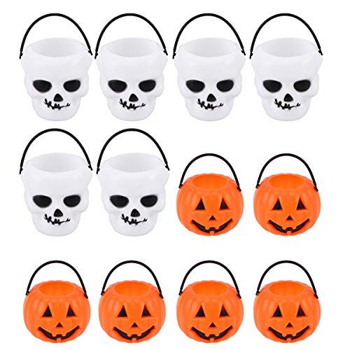 TOYMYTOY 12 Pack Kürbis Skull Eimer Candy Holder Halloween Süßes oder Saures Taschen