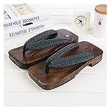 Without Logo ZCPCS New Summer Fashion Men China Geta Clogs Classial Wooden Slippers Mens Flip Flops Male Platform Shoes Print Wood Men Geta Sandals (Color : 13, Shoe Size : 9.5)