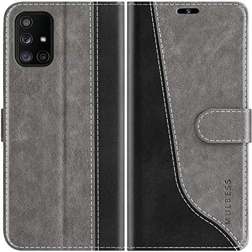Mulbess Handyhülle Kompatibel mit Samsung Galaxy A71 Hülle Leder, Etui Flip Handytasche Schutzhülle für Samsung Galaxy A71 Hülle, Grau