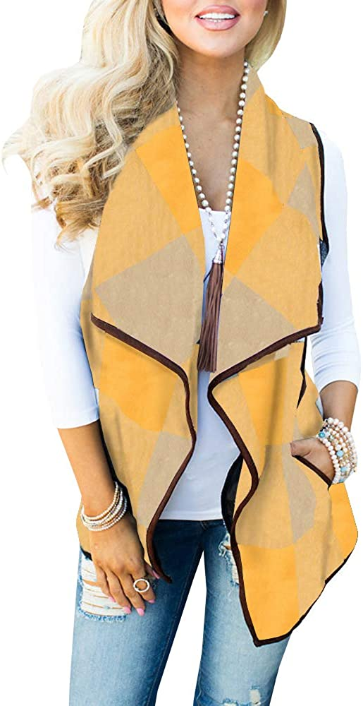 UMEKO Womens Casual Lapel Open Front Plaid Vest Casual Sherpa Cardigans Jackets with Pockets