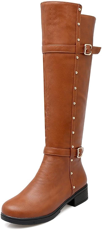 AIWEIYi Womens Thigh High Boots Chunky High Heels Knee High Riding Boots Black
