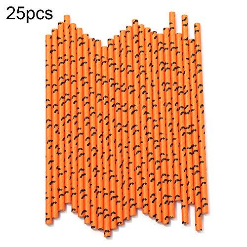 LEUM SHOP - Confezione da 25 cannucce usa e getta per Halloween, motivo: pipistrello, Carta da pacchi, 25PCS