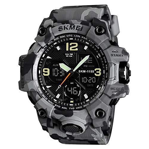 QZPM Outdoor Stile Uomini Militare Digitale-Orologio Impermeabile Sport Shock Multifunzione Orologi LED Watch,Gray Camouflage