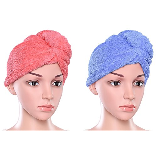 PRETTY SEE Hair Drying Towels Hair Turban Towel Twist Wrap Absorbent Microfiber Dry Hair Cap for Bath, Spa and Makeup, 23.4 9.8 inch, 2 Pack, Blue and Pink