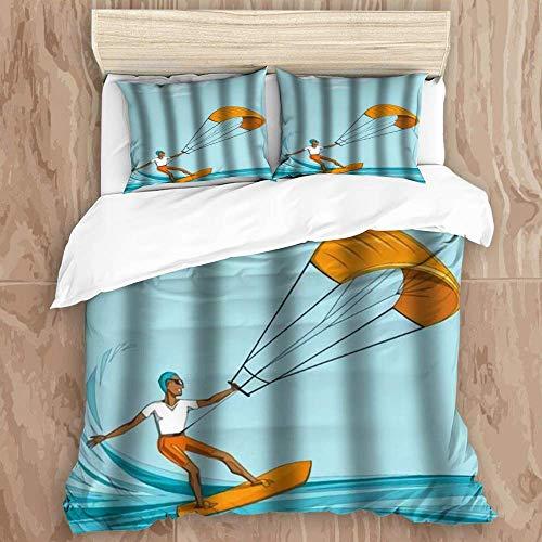Juego de funda nórdica de 3 piezas de fácil cuidado y 2 fundas de almohada, Farmhouse Kite Surfer en Summer Ocean Man con gafas de sol Orange Waterboard, elegante funda de edredón de microfibra de cal