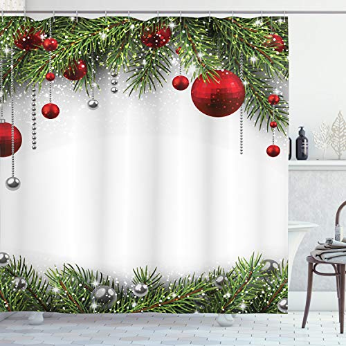 """Ambesonne Christmas Shower Curtain, Holiday Season Backdrop with Pine Leaves Ball Classic Design Print, Cloth Fabric Bathroom Decor Set with Hooks, 70"""" Long, Multicolor"""
