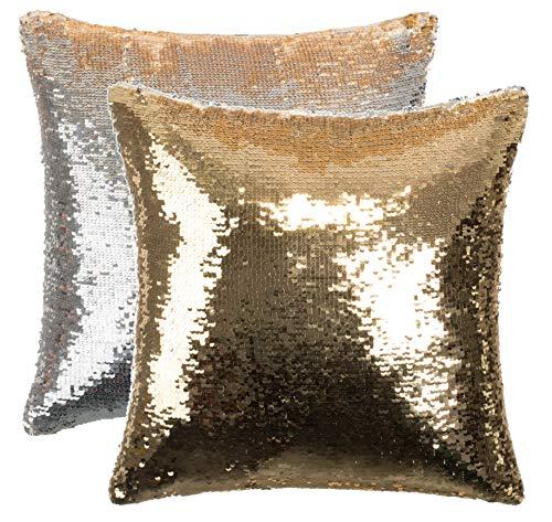 Brandsseller Wendepailletten Dekokissen Glamour Zierkissen Couchkissen Sofakissen - mit Füllung - Größe: ca.40 x 40 cm - Farbe: Gold/Silber