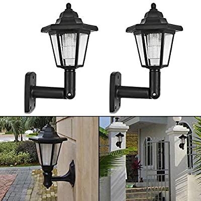 2PCS Solar LED Wall Lights Outdoor- LED Solar Wall Sconces Vintage | Solar Security Wall Lights Garden Fence Lamp for Outside, Porch