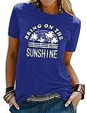 FEMLE Mujeres Bring ON The Sunshine Camisetas con Estampado Tops Manga Corta Camisas con Estilo