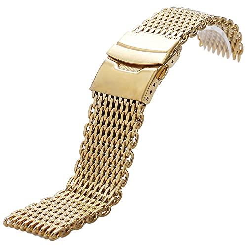 HPTQJ Banda de Reloj de Acero Inoxidable 18mm / 20mm / 22mm / 24mm Tiburón Malla de Malla Correa de Malla Metal Metal Reloj Brazalete para Reloj Inteligente Banda de Pulsera Regalo cálido