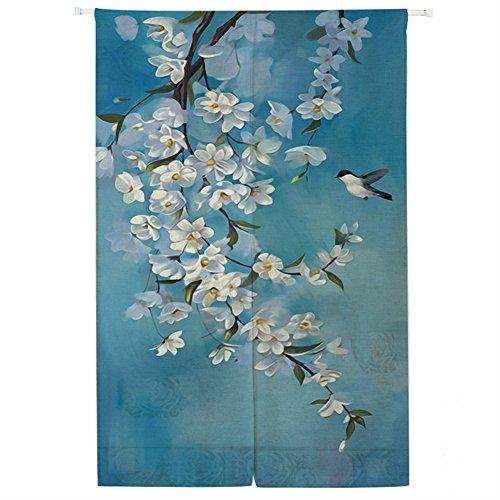 Icegrey linnen gordijn Japanse noren panelen kinderen slaapkamer deur gordijn met trekstang 85 x 150 cm Aquarel zwaluwen