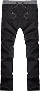Beodole Mens Pure Color Loose Ankle-Length Pants Jogger Pants Biker Slim Fit Casual Tracksuit Running Sport Pants Sweatpants Trousers  Black  L2