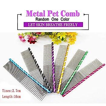 Meetory Peigne pour Chien Pet Cat Toilettage Peigne pour Chien Dos Arrondi en métal 16 cm Aléatoire