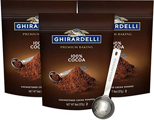 Ghirardelli Unsweetened Cocoa Powder Pouch 8 Ounce (Pack of 3) with Limited Edition Measuring Spoon