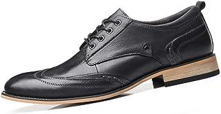 Shoes, Business Men Casual Bun Oxford Shoes Lace Dress Shoes Pointed Shoes Stitched Leather Soles Slip Jovian High Quality (Color : Black, Size : 50 EU)