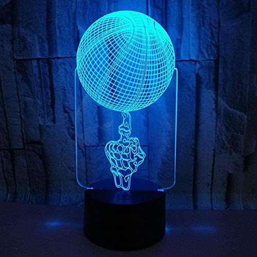 CMMT Lámpara de escritorio de baloncesto LED lámpara de gradiente colorido 3D estereoscópico táctil remoto USB noche noche escritorio imaginativamente decorado regalo de cumpleaños 20 * 13 cm