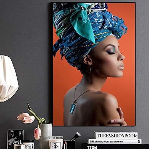 Kunstdruk op canvas, decoratie thuis, voor dames, Afrikaans, haarband, portret, fotodruk, poster, woonkamer, muur, Art40 x 55 cm