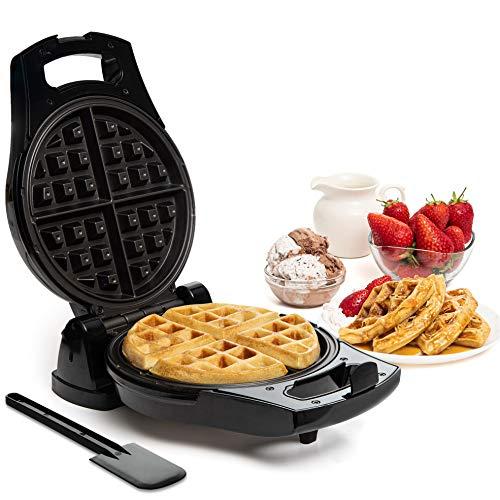 Moss & Stone Belgian Waffle Maker, Electric Waffle Machine, FlipSide & Non-Stick Grids,Temperature Control,Belgian Waffle Iron Black + Silver