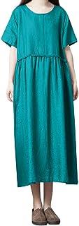 女性のヴィンテージソリッドカラー緩い半袖Oネックコットンマキシドレスろんぐ ぬりえ もこもこ ドレス やすい おおきいサイズ ドレス かみかざり
