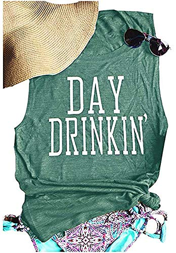 Women's Day Drinkin' Casual Tank Tops Novelty Funny Letters Print Vest T-Shirt 2020 Shirts(Jasper S)