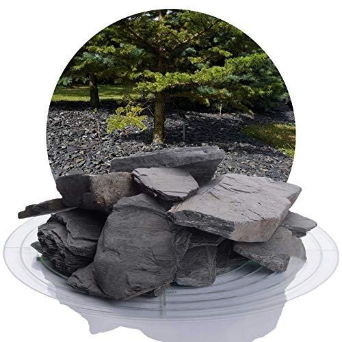 25 kg Deutscher Schiefersplitt in verschiedenen Größen, schwarzer Naturstein Splitt ideal zur Gartengestaltung (Schiefer Splitt, 40-70 mm)